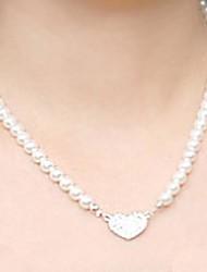 Fashion Rhinestone Pearl Love Short Necklace