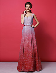 Formal Evening Dress A-line Straps Floor-length Sequined