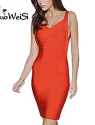 NUO WEI SI ®   Women's Cap Sleeve Square Neck Bandage Dress