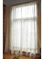 """un pannello da 32 """"WX90"""" l (82cmwx230cml) floreali / ricamato / botanico poly / faux di lino bianco puro"""