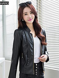 BS®Women's lapel Collar Casual Long Sleeve Leather Coat