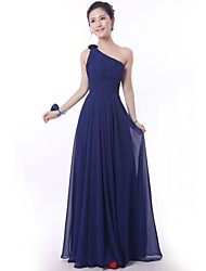 Floor-length Bridesmaid Dress - Royal Blue Sheath/Column One Shoulder