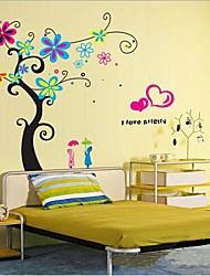 flores românticas removíveis e etiqueta fundo da parede de árvore