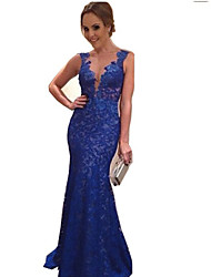 Women's Sexy Backless Sleeveless Blue Lace Party Maxi Dress