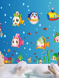 pegatinas de pared Tatuajes de pared, estilo de los submarina fishpvc dibujos animados mundo pegatinas de pared
