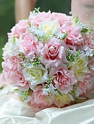ramo de la boda romántica boda de la novia que sostiene las flores, la simulación colth seda rosa rosa