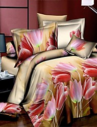 Shuian® Duvet Cover Set,3D Oil Printed Unique Flower Bedlinen for Queen Size Bed Sheet Linens