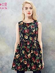 Elf Sack Womens Autumn Dress Round Neck Sleeveless Vintage Floral Print