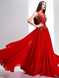 Formal Evening Dress A-line Bateau Sweep / Brush Train Chiffon / Lace with Lace / Sequins