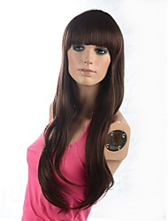 Lady's Long High Quality Dark Brown Natural Wavy Hair Wig