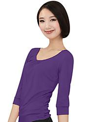 Mujer Yoga Tops Medias mangas Transpirable / Listo para vestir / Capilaridad / Compresión Negro / MoradoYoga / Fitness / Deportes