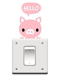 Switch Wall Stickers Wall Decals, Cartoon Pig PVC Switch Sticker