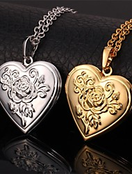 Fancy Hot Sale Heart Rose Flower Floating Lockets Pendant Necklace 18K Chunky Gold Platinum Plated Jewelry High Quality