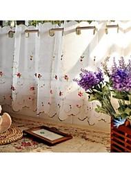 "One Panel 155cmWx60cmL61""WX24""L  White Floral  Botanical Linen Kitchen Curtain"