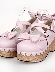 Rosa PU plataforma de 8 cm de cuero zapatos dulce lolita