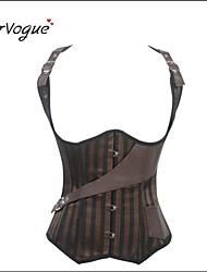 Burvogue Women's Steel Boned Vest Satin and Leather Bustier Brown Steampunk Corset