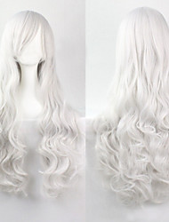 Cosplay White Fashion Must-have Girl High Quality Long Curly Hair Wig