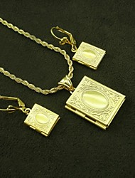 18K Real Gold Plated Internal Laser Engraving Allah Muslim Photo Box Pendant Necklace+Earrings Jewelry Set