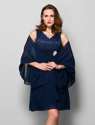 Women's Wrap Shawls Sleeveless Chiffon Dark Navy Wedding / Party/Evening Wide collar Draped Open Front