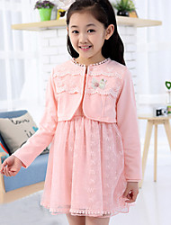 Girl's Sweet Lace Two Piece Set Dress(Cardigan&Dress)