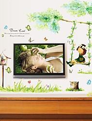 adesivos de parede adesivos de parede sobre o recurso de balanços menina pvc removível lavável