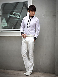 Shirts Classic (Semi-Spread) Long Sleeve Cotton/Polyester Patterns White