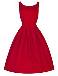 vestido midi sin mangas sólido elástico estilo vintage de la mujer