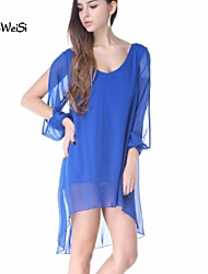 Nuo Wei Si Women's Chiffon V-neck A-line Long Sleeve Dresses