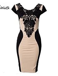 Nuo의 웨이시 ® 여자 유럽 레이스 섹시한 라운드 칼라 꽉 짧은 소매 나이트 클럽 드레스