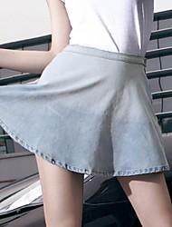 falda de cintura alta falda corta sexy de las mujeres (denim)