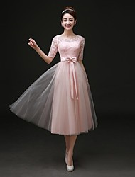 Formal Evening Dress - As Picture A-line Bateau Tea-length Satin