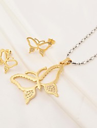 Fashion Butterfly Hollow 316L Stainless Steel(Necklace&Earrings) Jewelry Set