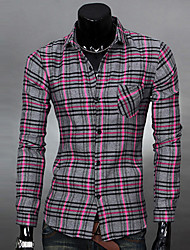 ZJ.SM Men's All-matched Check Long Sleeve Shirt