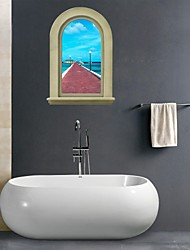 Adesivos de parede adesivos de parede 3d, parede seascape banheiro decoração mural pvc adesivos