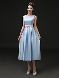 Cocktail Party Dress A-line Bateau Tea-length Satin with Pockets