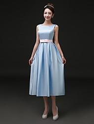 Платье для коктейля - элегантный атлас с длинными рукавами из бато с карманами