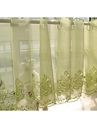 "230cmwx43cml un panel (91 l ""wx17"") floral / bordado / botánica poli / tul cortina de la cocina"