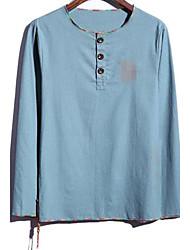 Masculino Camiseta Linho Estampado Manga Comprida Casual / Tamanhos Grandes-Azul