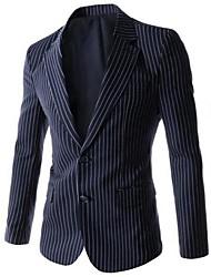 Men's Long Sleeve Regular Blazer , Cotton Striped