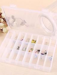 24-Grids Plastic Transparent Jewelry Storage Boxes