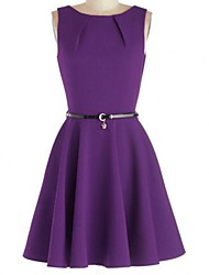 Women's Vintage Micro Elastic Sleeveless Knee Length Dress (Cotton Blends)