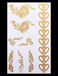 1PC Gold Tattoos Heart Jewelry Temporary Tattoos Flash Tattoos Metallic Tattoos Wedding Party Tattoos(20*10cm)