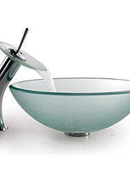 Frosted Round Tempered Glass Vessel Sink with Waterfall Faucet ,Pop - Up Drain and Mounting Ring