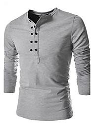 T-Shirts ( Mistura de Algodão ) MEN - Casual Colarinho de Camisa - Manga Curta