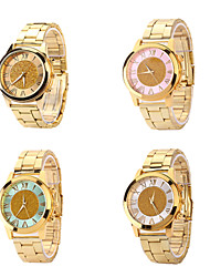 Women's Roman Scale Fading Color Dial Gold Band Quartz Analog Elegant Fashion Watch