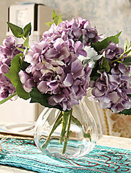 cinco hyfrangeas roxo artificial flores com vaso