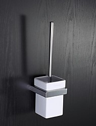 Bathroom Toilet Brush Holder Moderen Chrome Finish Zinc Wall Mounted Bath Toilet Brush Set