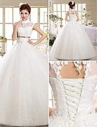 Vestido de Noiva Baile Gola Alta Comprido Renda