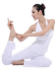 sin mangas blanco de yoga juego de la aptitud