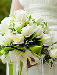 26 centímetros de diâmetro de casamento da noiva do casamento bouquet segurando flores, seda branca colth simulação aumentou